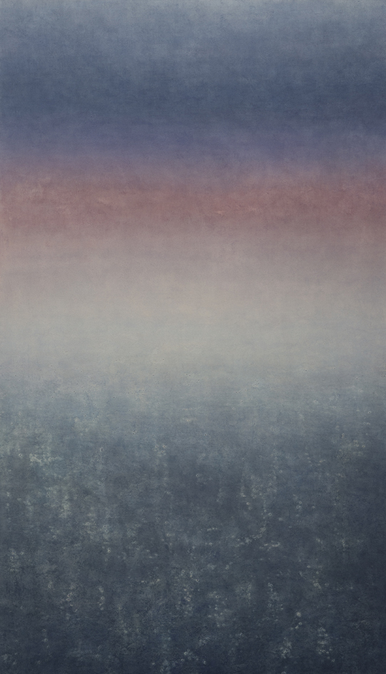 Makoto Ofune, Phase #2, 2018, Powdered mineral pigments on hemp paper mounted on board, 147.5 x 85 cm