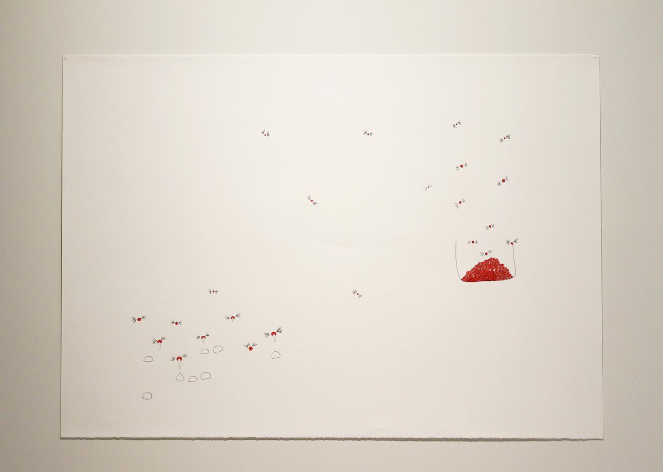 Mika Rottenberg, e22, 2005, pencil on paper, 76.2 x 101.6 cm (sheet)