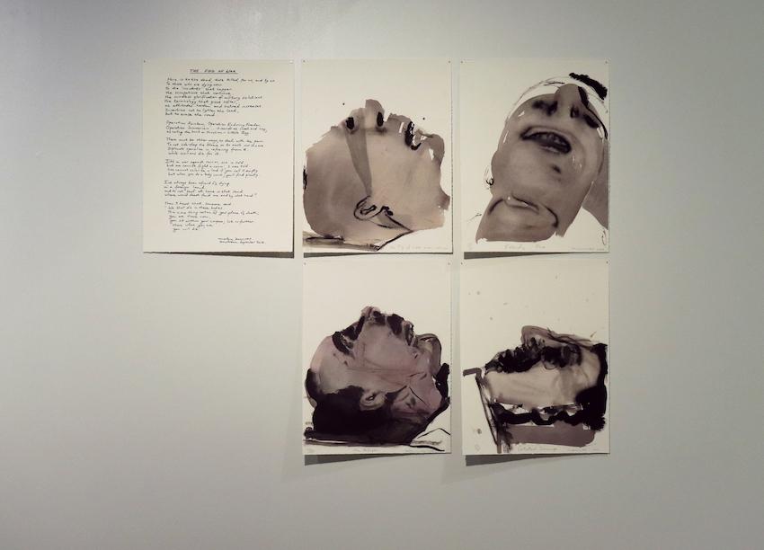 Marlene Dumas, The Fog of War,  2006, suite of 4 digital prints + 1 sheet of text written by Marlene Dumas in Pressboard portfolio, edition of 80
