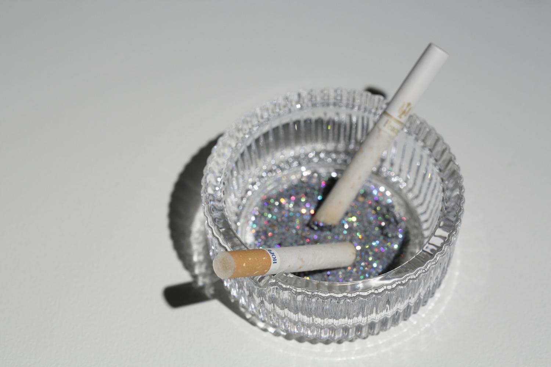 Our Hope, 2012, ashtray, cigarettes, glitter, ashes