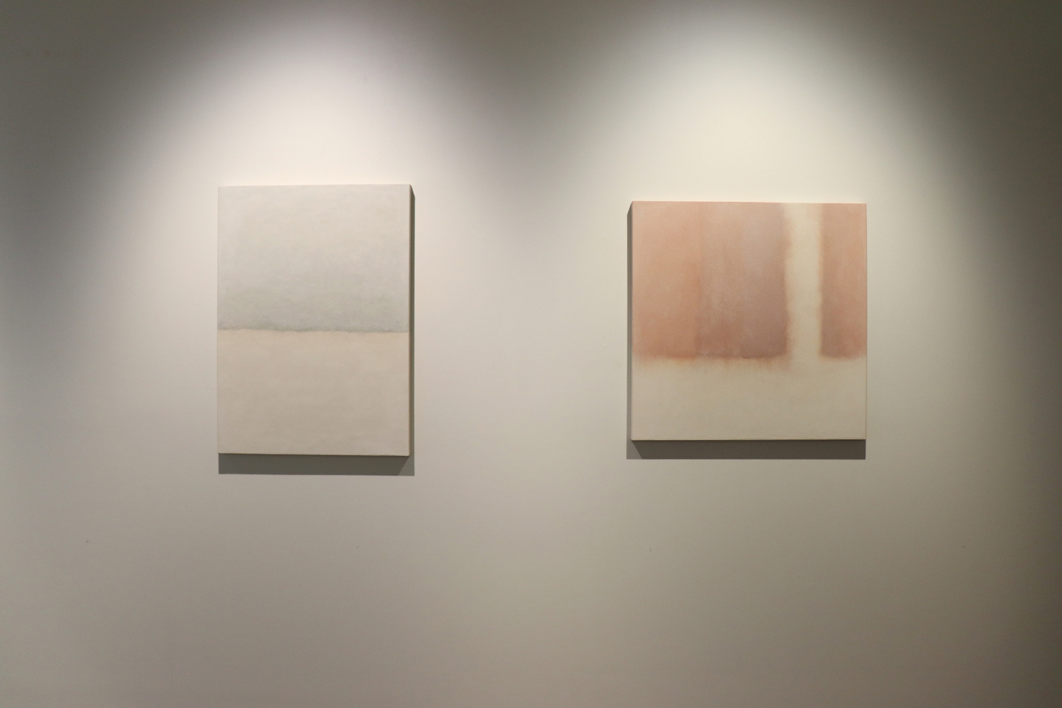 Yoon Heechang   left: Something (#835), 2013, ceramic powder and acrylic medium on panel 83 x 60 cm (image)  / right: Kamo River (#914), 2014,  fired sand from Kamo River, ceramic powder and acrylic medium on panel 72.7 x 72.7 cm (image)
