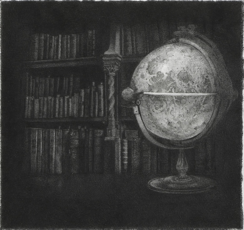 Yuriko Terazaki, Moon Globe, 2016, black color pencil and carbon pencil on paper, 17.8 x 19 cm