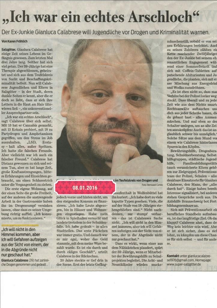 Zeitungsartikel der Salzgitter Zeitung vom 08.01.2016