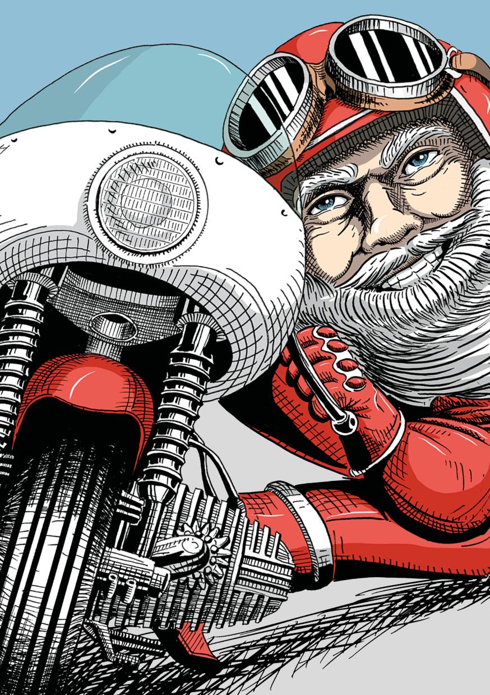Funny Santa Claus on a Bike. Illustriert mit Bleistift und Tusche von Lockedesign, Bern