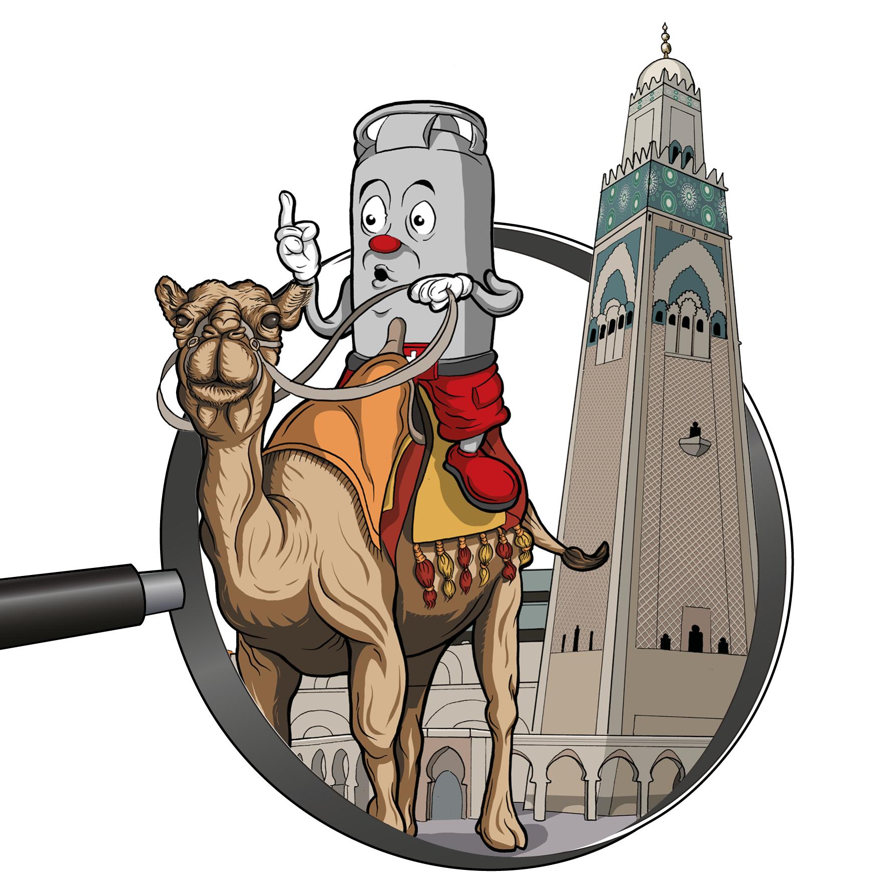 Zeichnung / Illustration: Viti auf Kamel in Marokko vor dem Turm von Djemaa el Fna