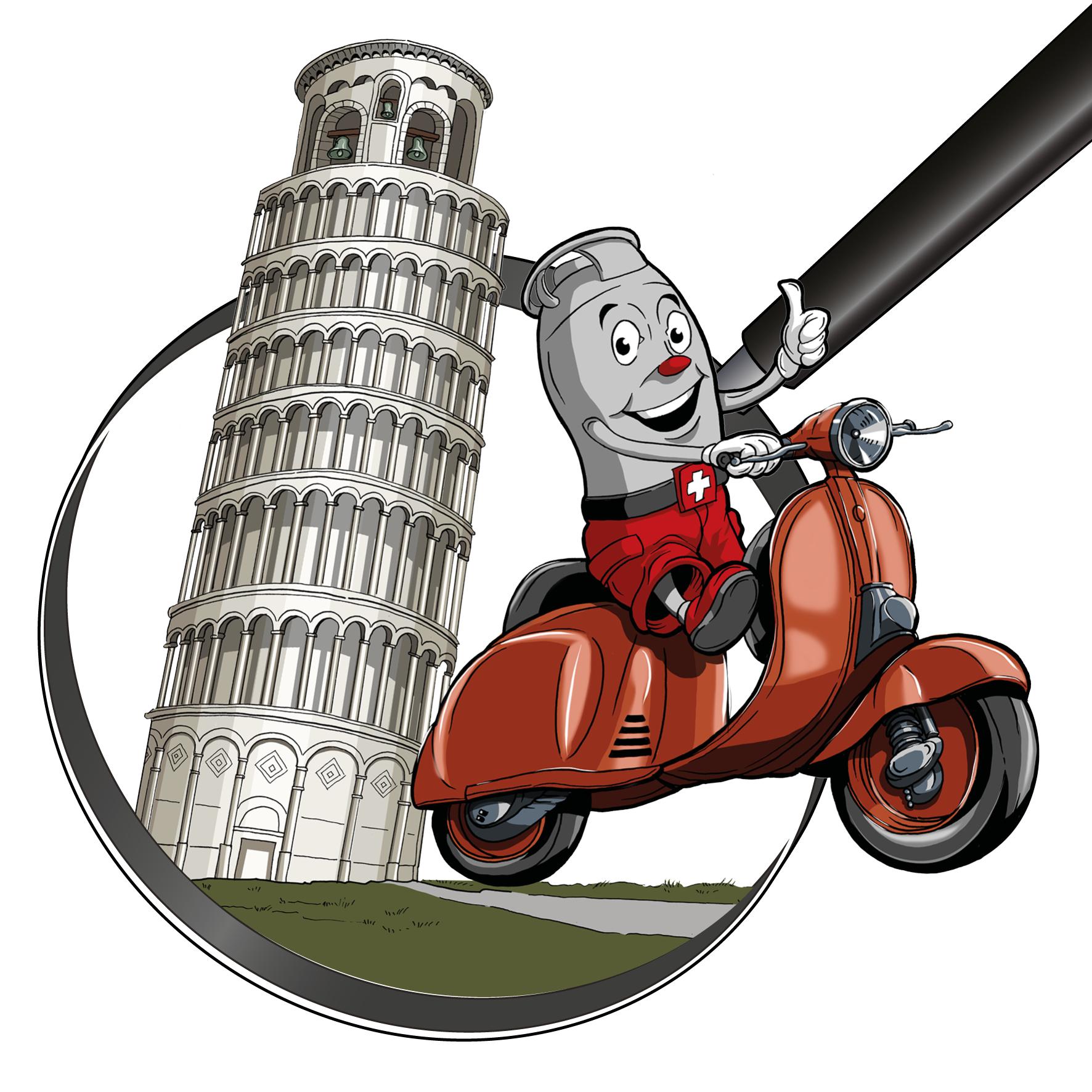Zeichnung / Illustration: Viti auf Vespa Roller in Pisa