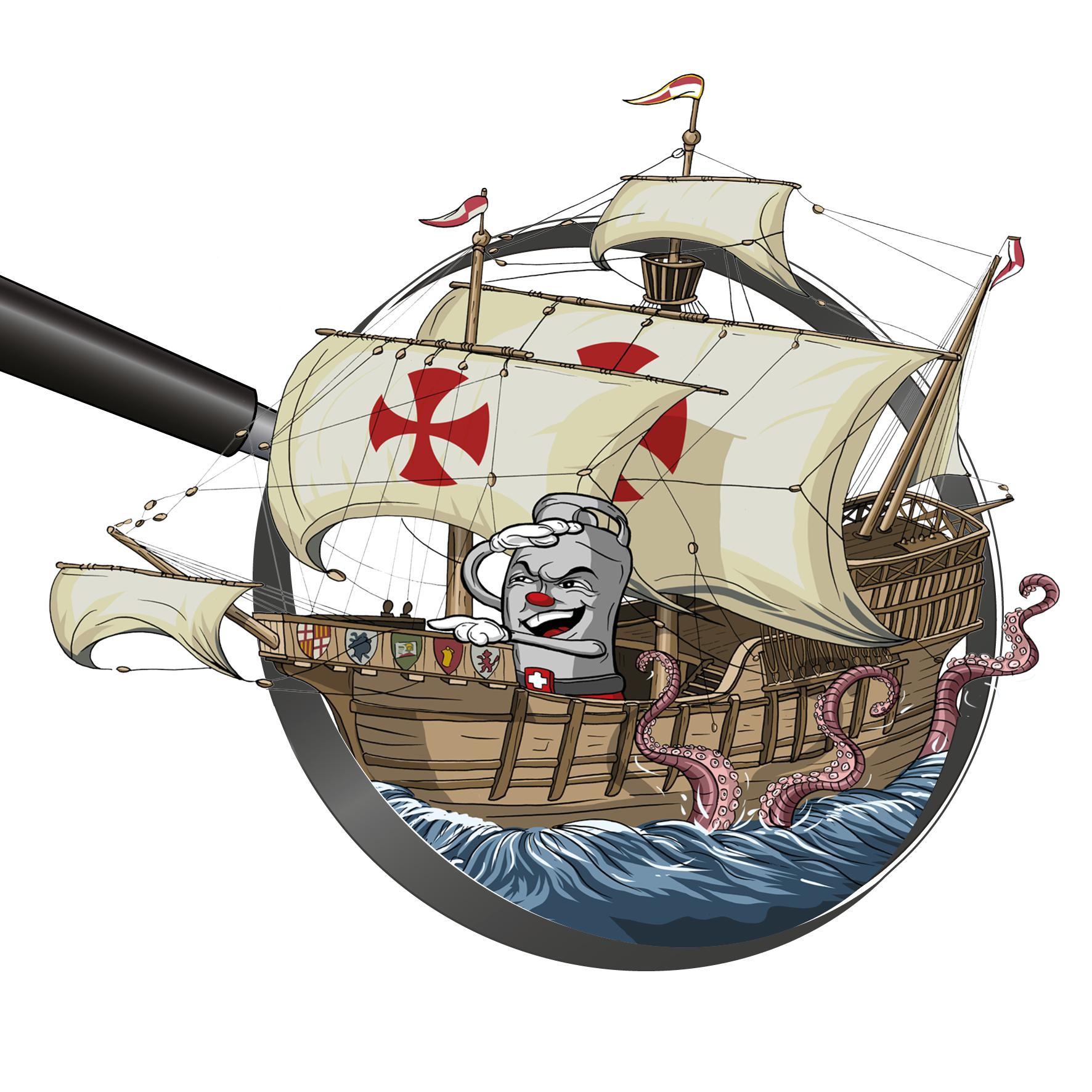 Zeichnung / Illustration: Viti in der Karavelle (Segelschiff von Kolumbus) von Portugal in Richtung Amerika