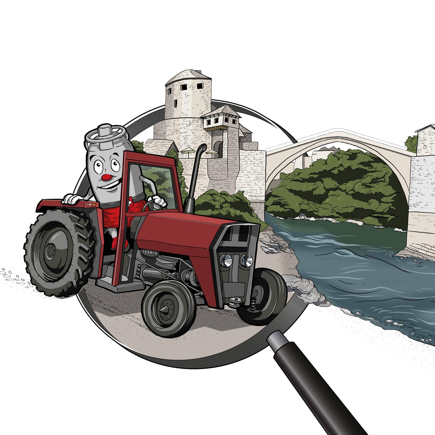 Zeichnung / Illustration: Viti auf einem Traktor vor der Brücke Stari Most in Mostar (Bosnien)