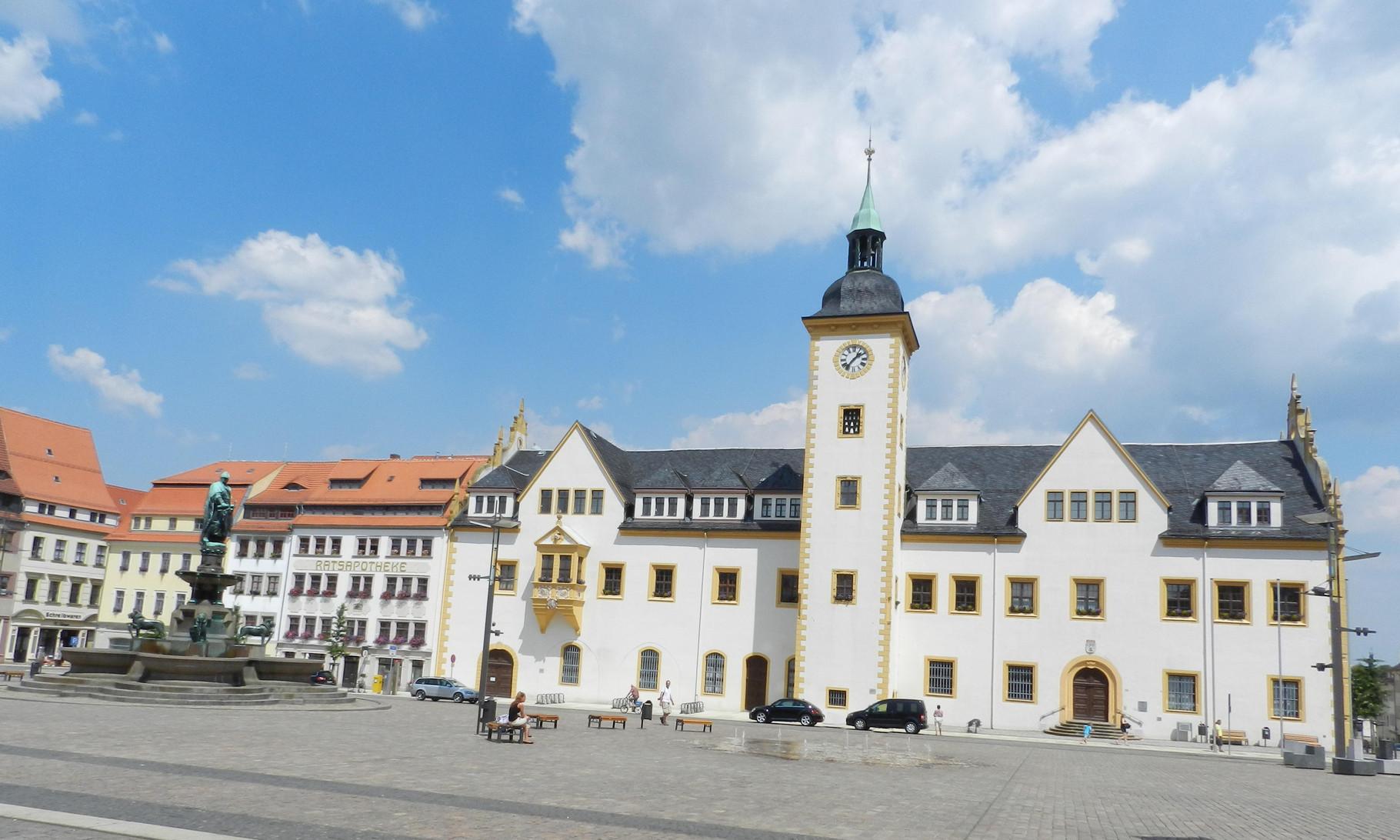 Zentrum von Freiberg mit dem Obermarkt