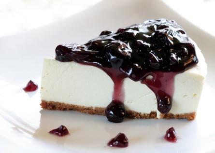tarta de queso con yogurt de arándanos