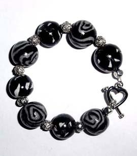 Schmuck Armband schwarz weiß silber