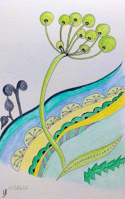 Fineliner mit Aquarellstiften coloriert