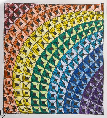 9 x 9 cm, coloriert mit Farb- und Gelstiften