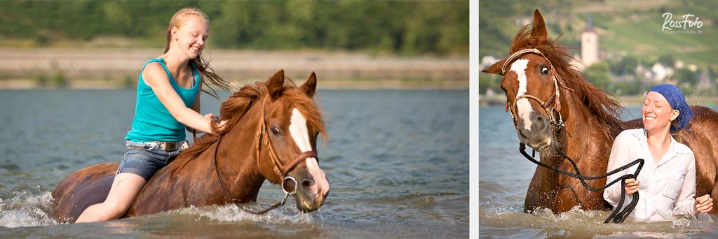 RossFoto Dana Krimmling, Pferdefotografie, fotografie, wanderreiten, westernreiten, freizeitreiten, reiten, sommer, Baden mit Pferd, schwimmen mit Pferd,