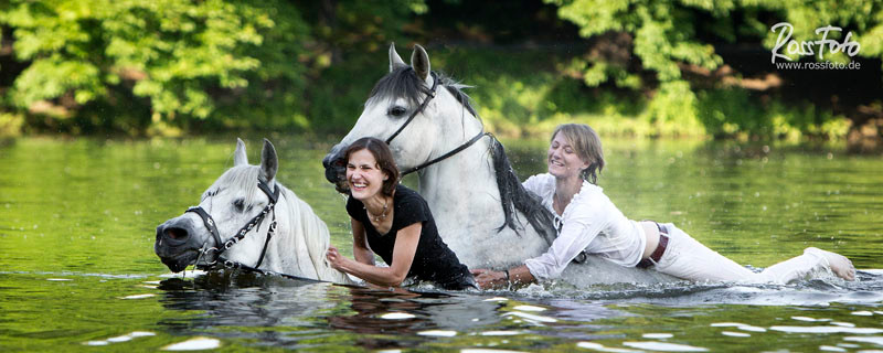 RossFoto Dana Krimmling Pferdefotografie Fotografien vom Wanderreiten Westernreiten Baden mit Pferden Wasser Sommer
