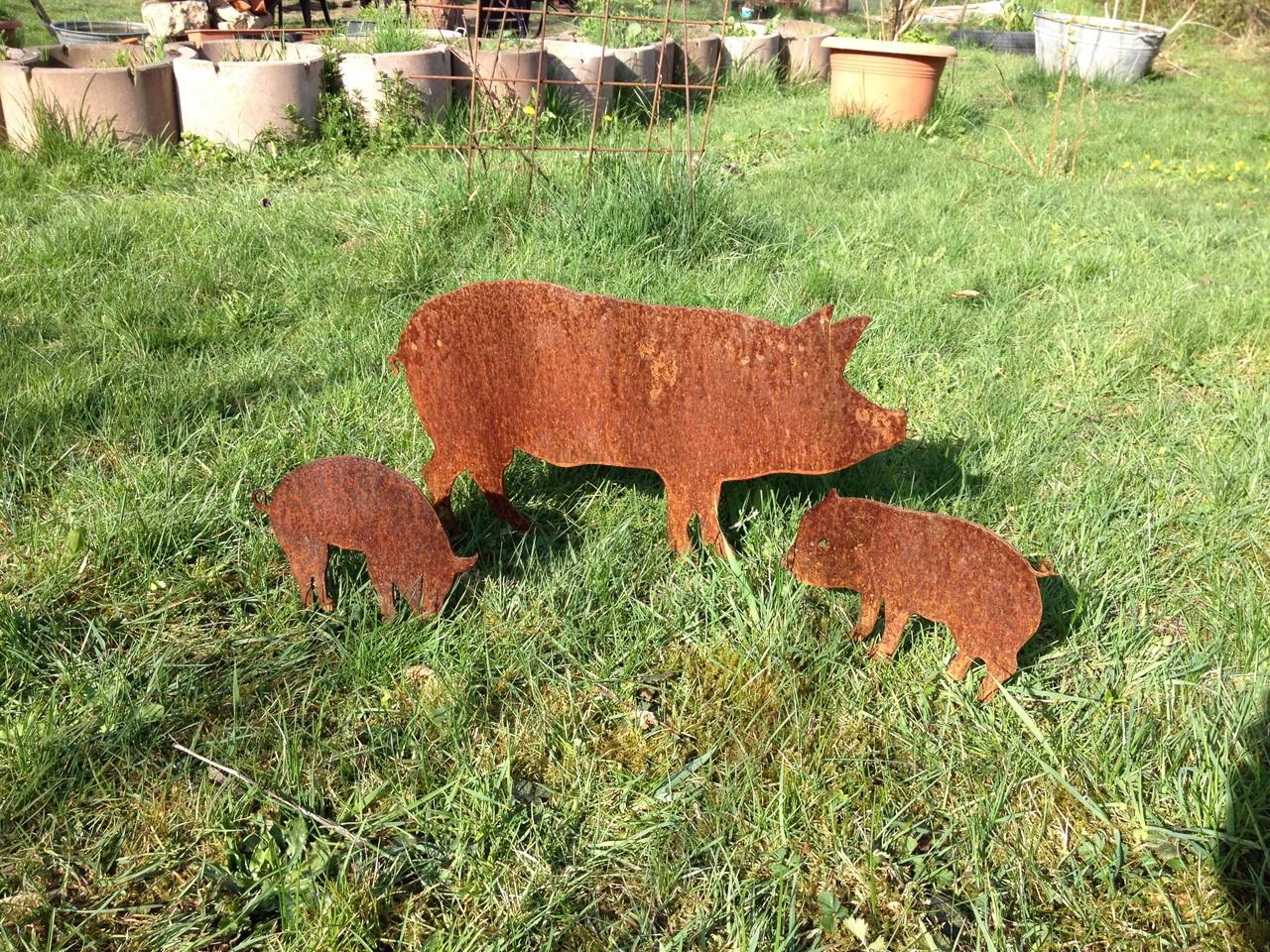 Edelrost schweinefamilie edelrost design kunsthandel gbr for Edelrost tiere
