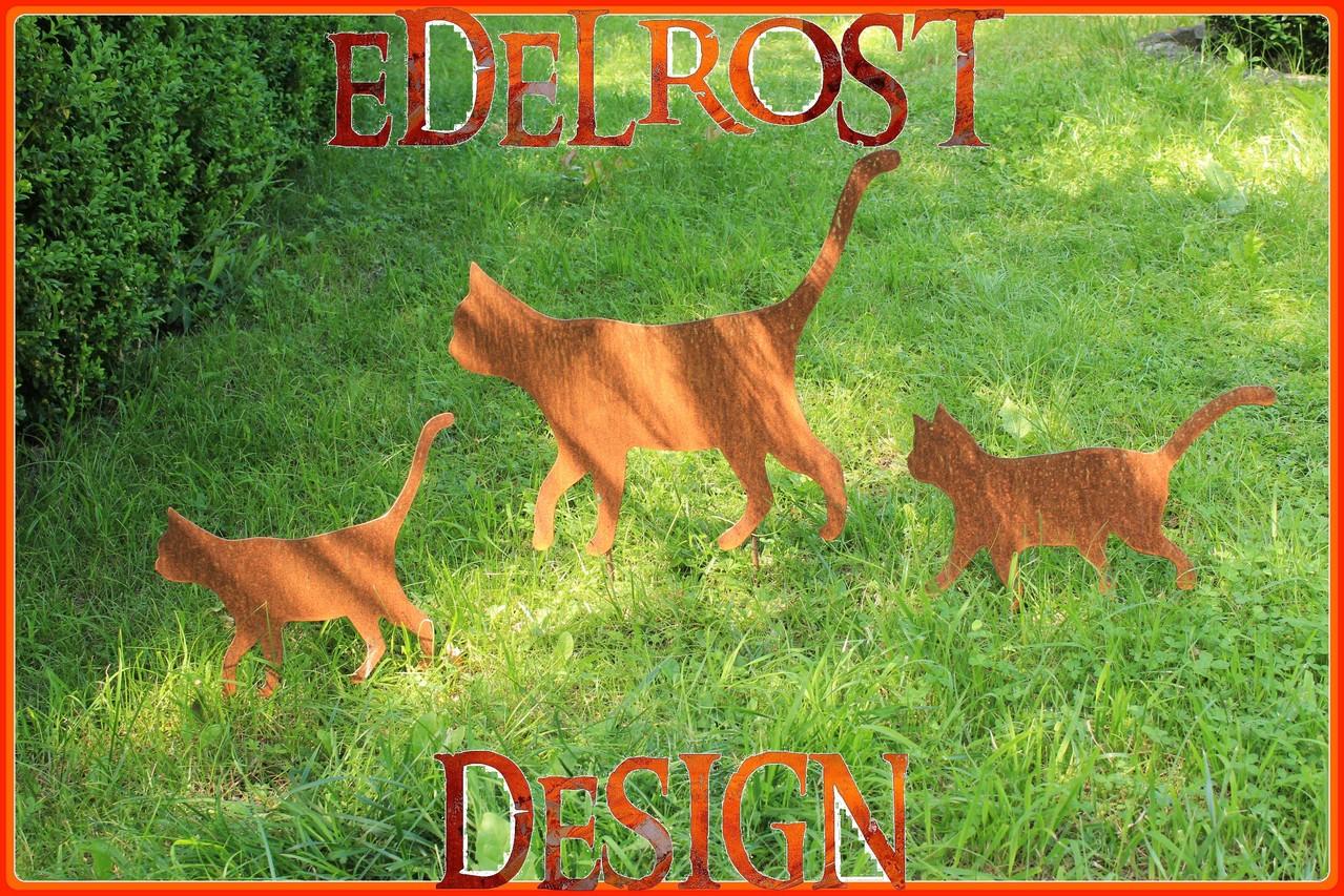 Edelrost katzenfamilie edelrost design kunsthandel gbr for Edelrost tiere