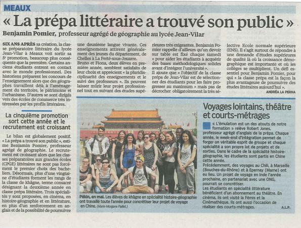 Le Parisien fait un article en juin 2016 sur notre Prépa