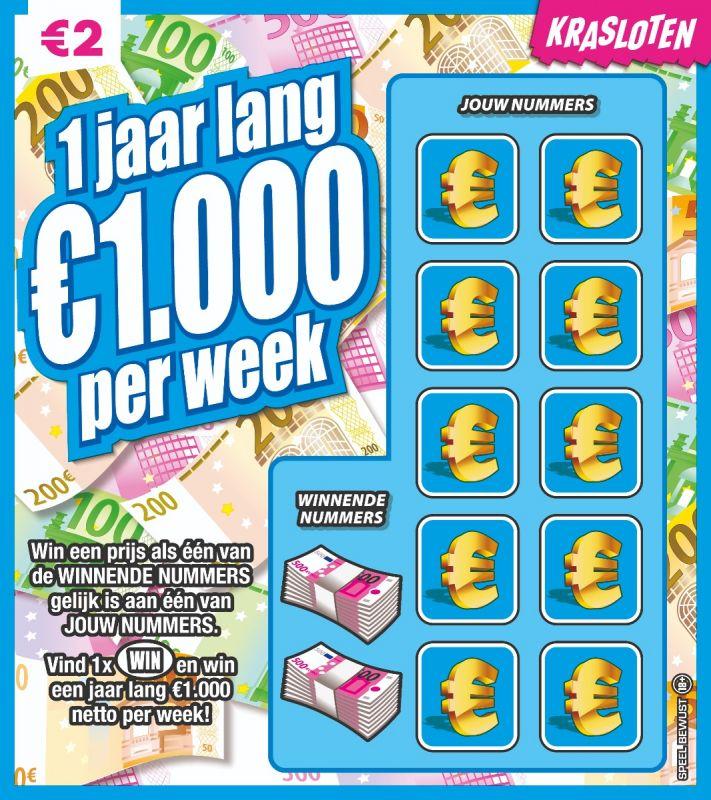 1 jaar lang €1.000 per week - €2