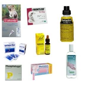 Médicaments de la trousse de premiers secours pour chiens