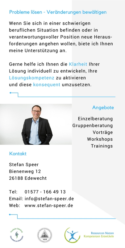 Stefan Speer, Business Coach, Heilpraktiker für Psychotherapie, Oldenburg, Stress, Seminare