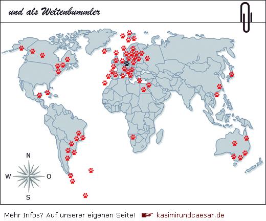 die Weltenbummlerkarte von Kasimir, Cäsar und Fredi