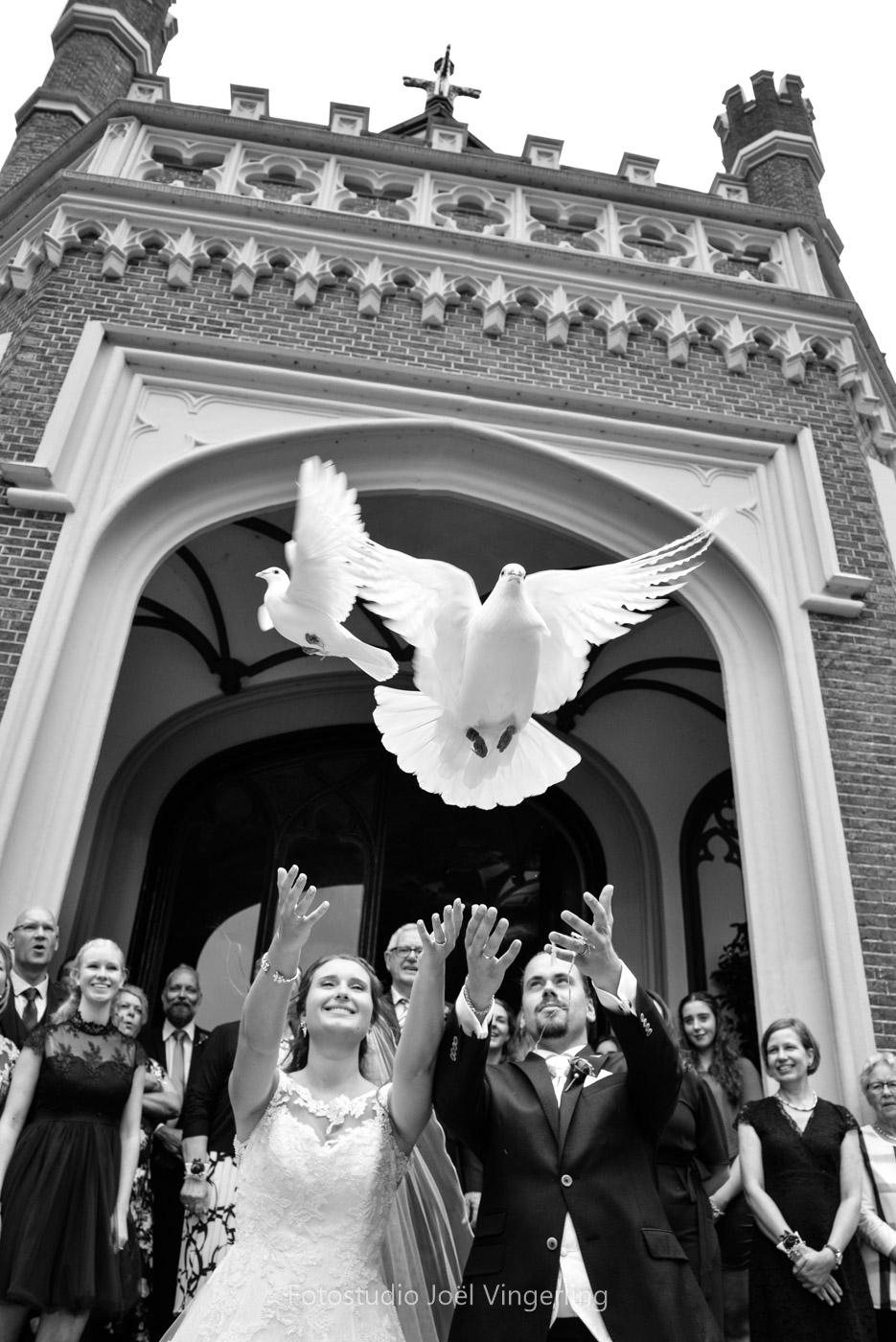 duiven loslaten trouwen kasteel