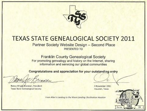 Second Place Partner Society Website Award, 2011, presented at the Texas State Genealogical Society Annual Conference, 4 November 2011