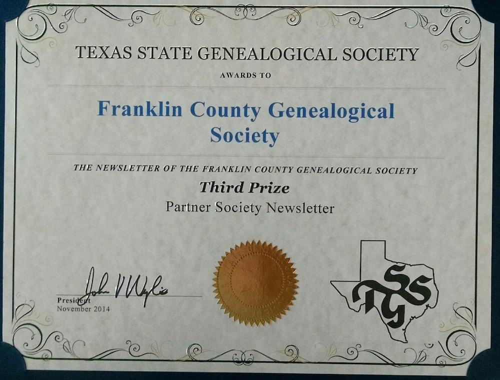 Third Place Society Partner Society Newsletter Award, from Texas State Genealogical Society, 2014