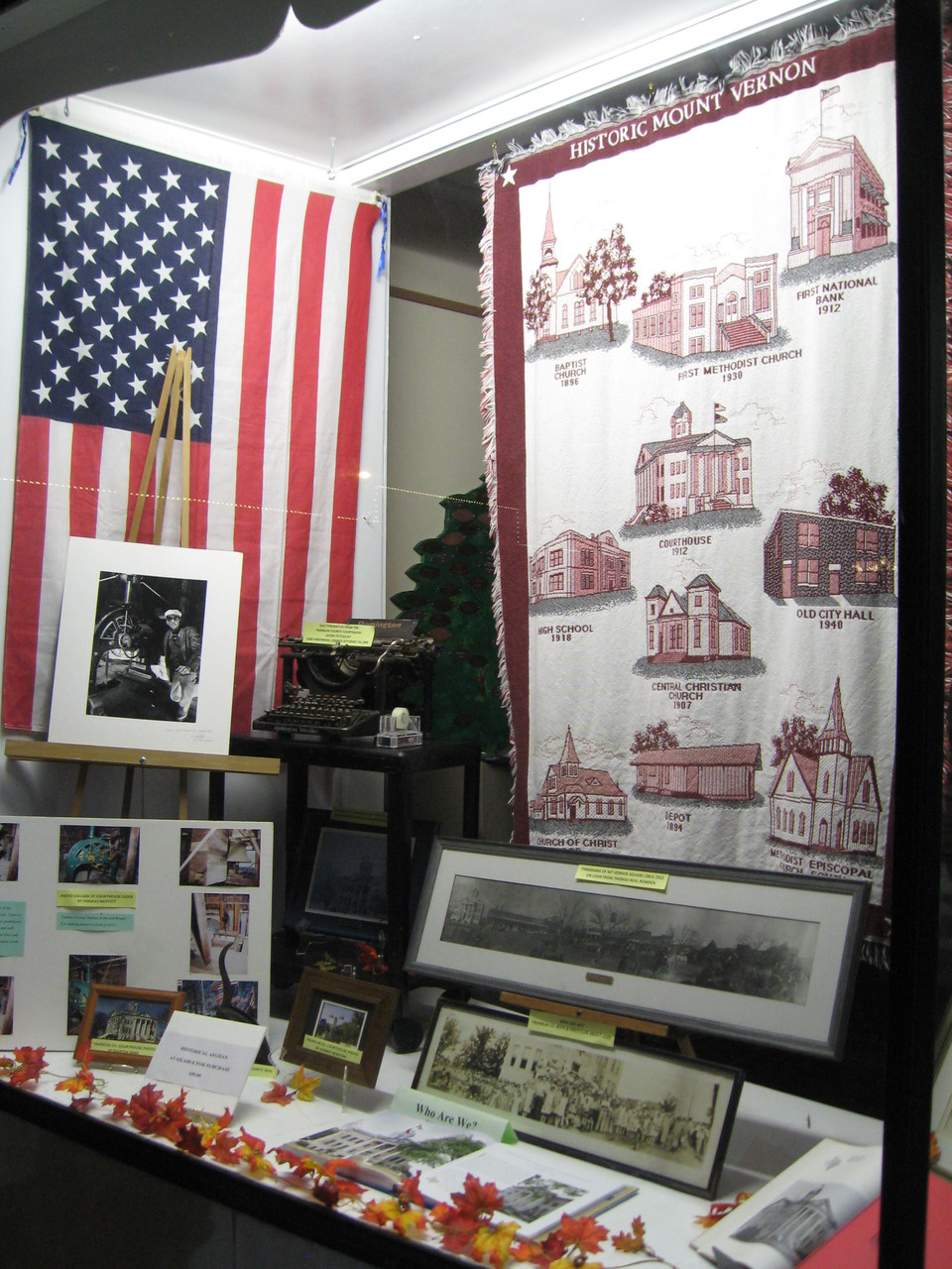 """Fall 2014 display by Sue Bolin for the """"Restoration of the FC Courthouse"""" event.FCGS has the historical afghan for sale for $50.(Photo courtesy of Sue Bolin.)"""