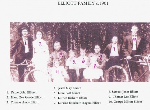 Elliott Family, 1901. Children not pictured were Will, Lula, Jeptha Zachariah (named for both Thomas Amos and Louraney's fathers--Jeptha Amos Elliott and Zachariah Rogers) and Della, who died at age 6 in 1896.
