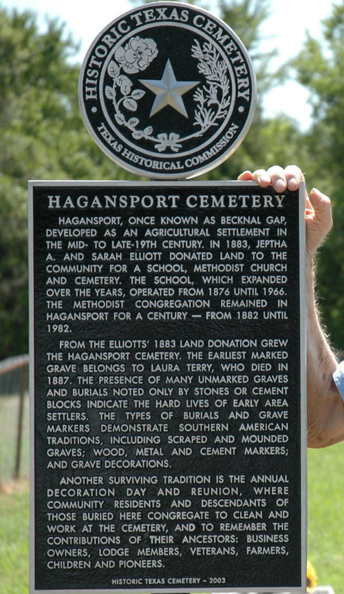 Hagansport Cemetery sign, 2004