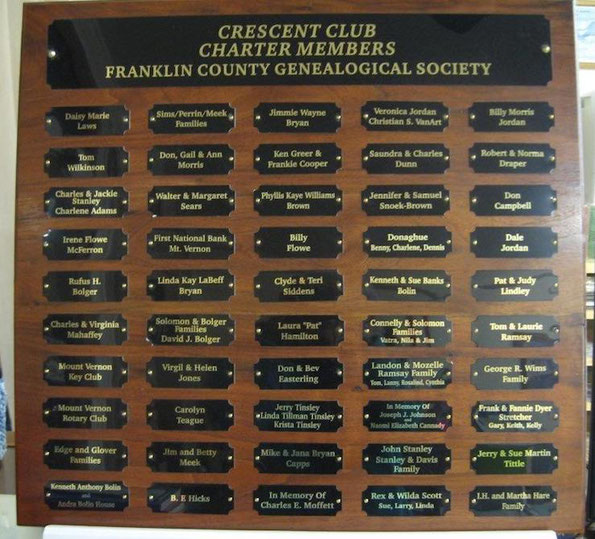 FCGS Crescent Club Charter Members Plaque, 2018