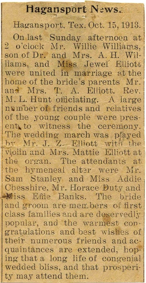 Wedding announcement for Miss Jewel May Elliott to Mr. Willie Williams, Hagansport News, Oct. 15, 1913