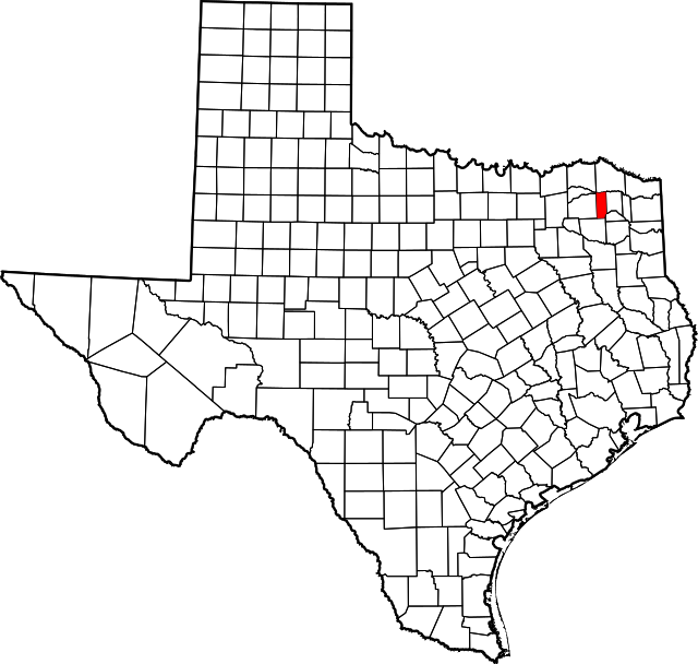 Map of Texas highlighting Franklin County (highlighted in red)