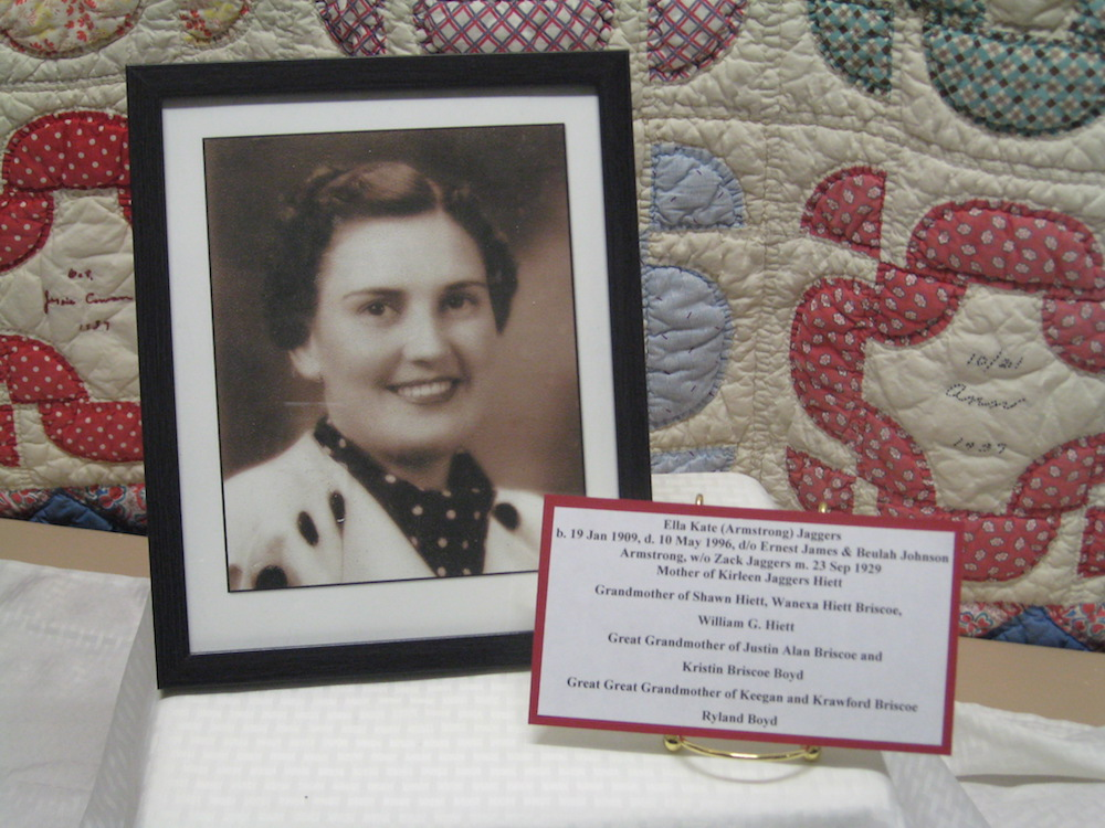 FCGS window display, Sept. 2016, Edna and Ora Waters quilt squares 1937