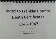 Cover of Index to Franklin County Death Certificates, 1945-1947