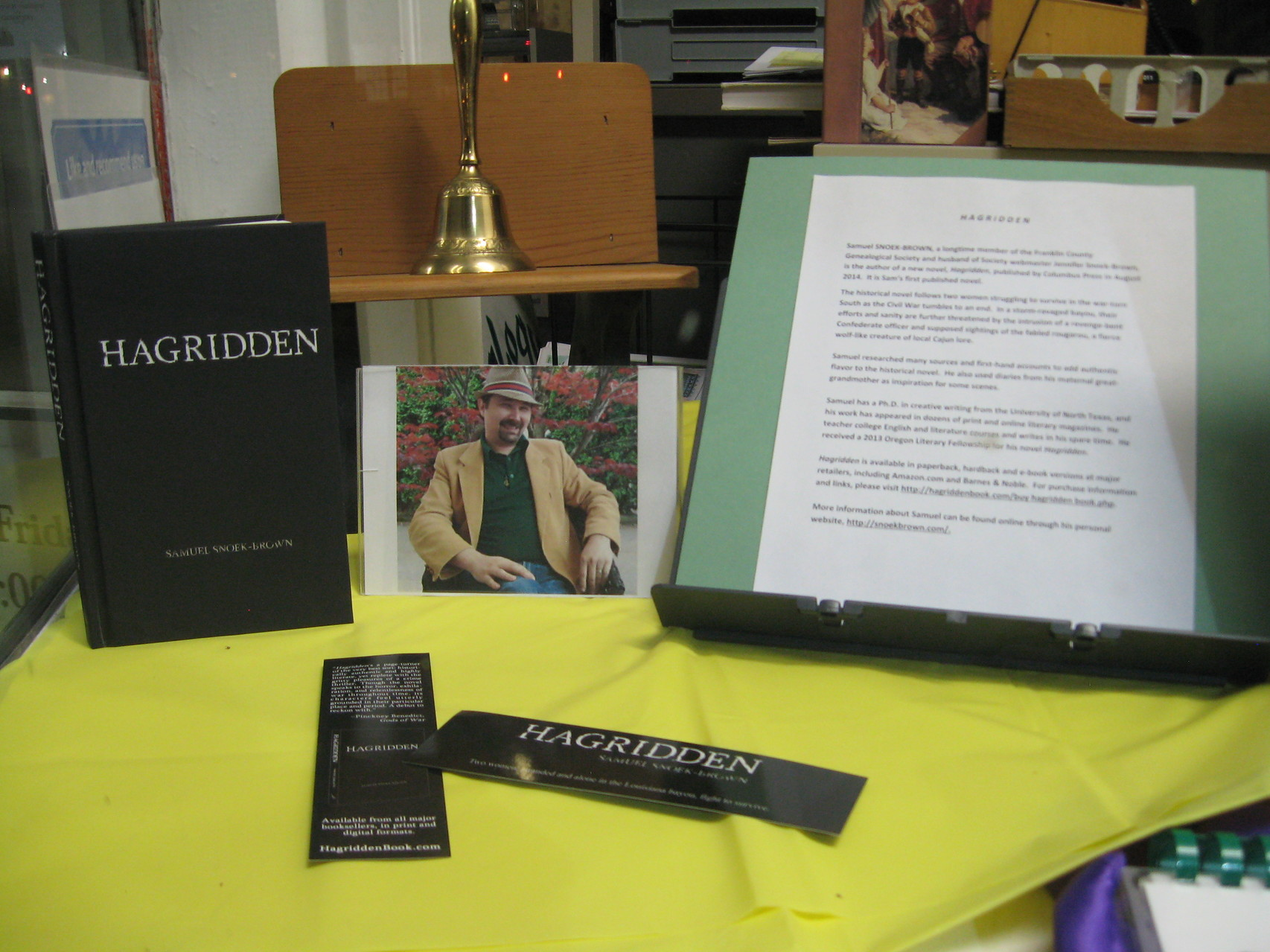 Fall 2014 book display of 'Hagridden,' a new book by Society member Samuel Snoek-Brown (Photo courtesy of Sue Bolin)