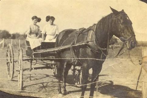Addie Lorene Chesshir & Effie Leora Banks in wagon, Hagansport community, c. 1914