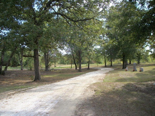 New road through cemetery, west side, Colliers Chapel Cemetery, Sept. 2011