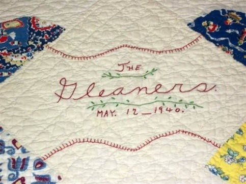 "A closeup of Pat Wims's quilt, ""The Gleaners,"" May 1940 (Photo courtesy of Sue Bolin)"