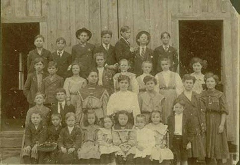 County Line School Southeast Franklin Co. TX, circa 1903. A. D. Lamb second from right.