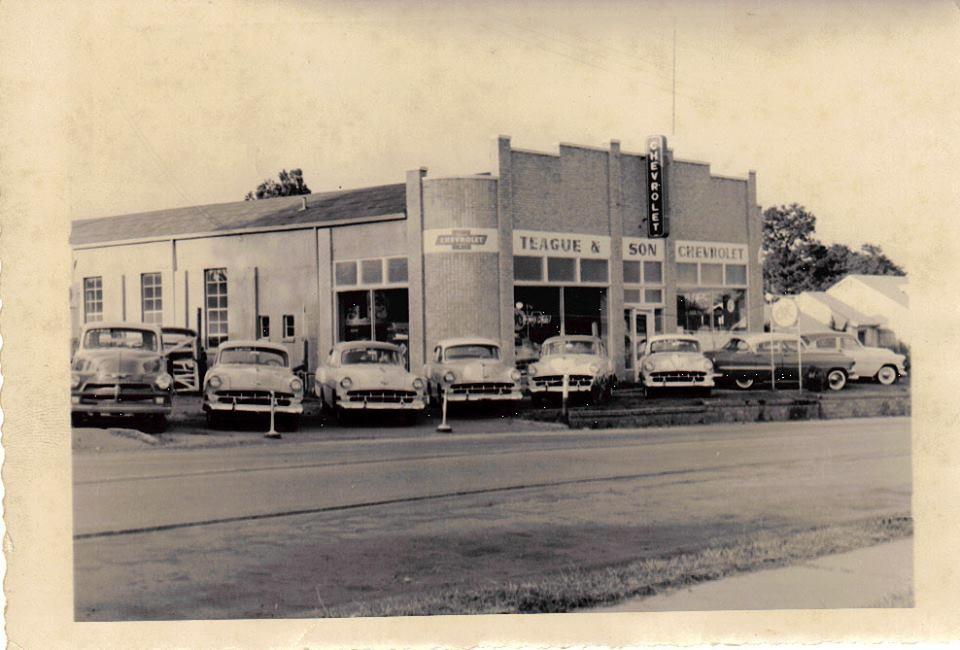 Teague Chevrolet Company in Mt. Vernon, circa 1954.