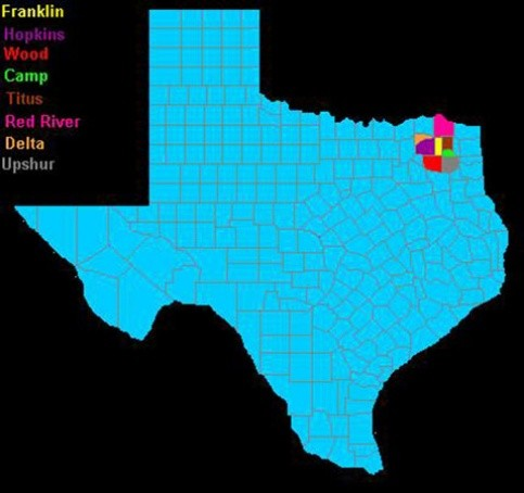 Map of Texas counties, highlighting neighboring counties of Franklin County (highlighted in yellow)
