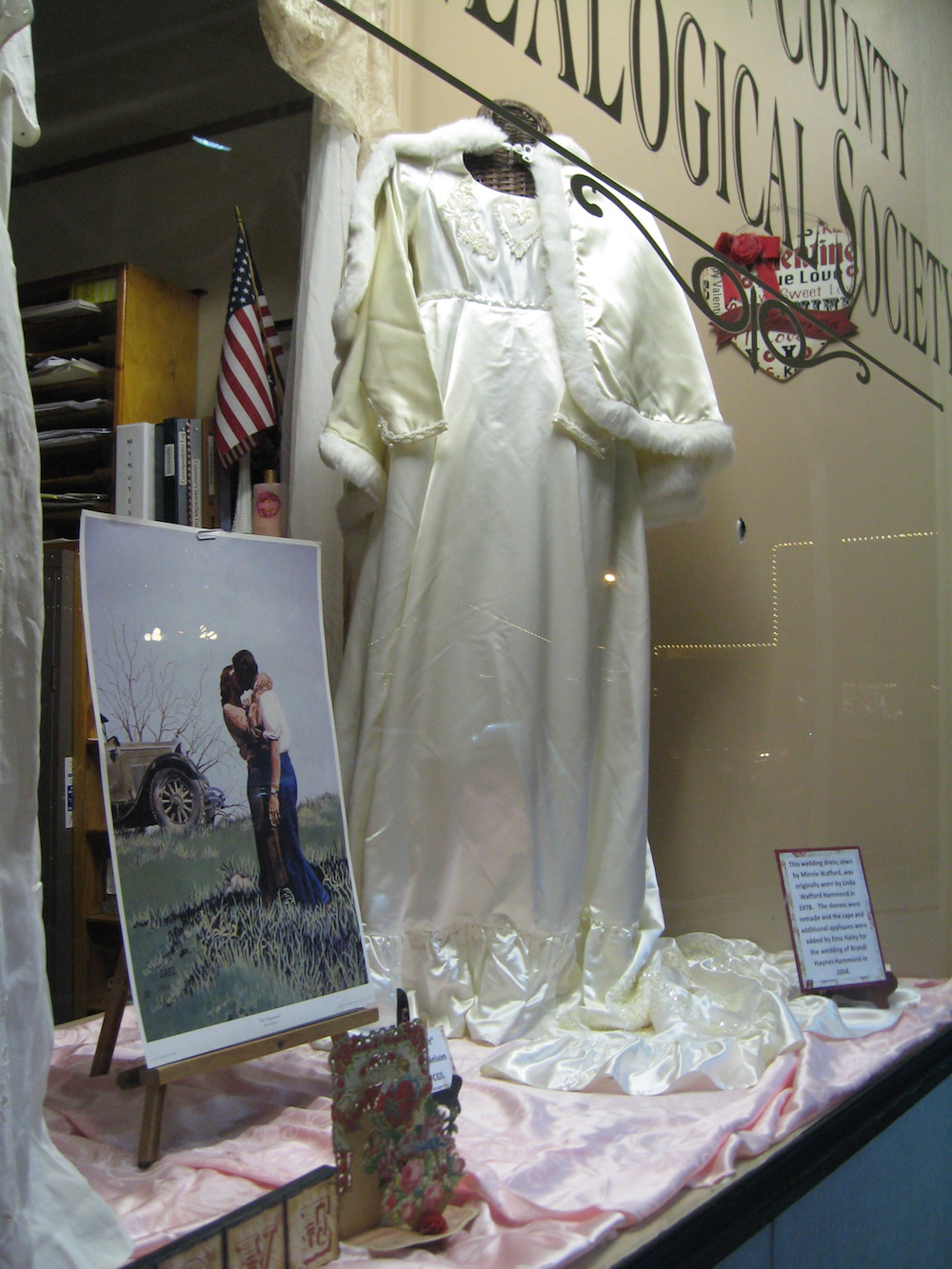 FCGS display of Linda Hammond's wedding dress, Feb. 2016
