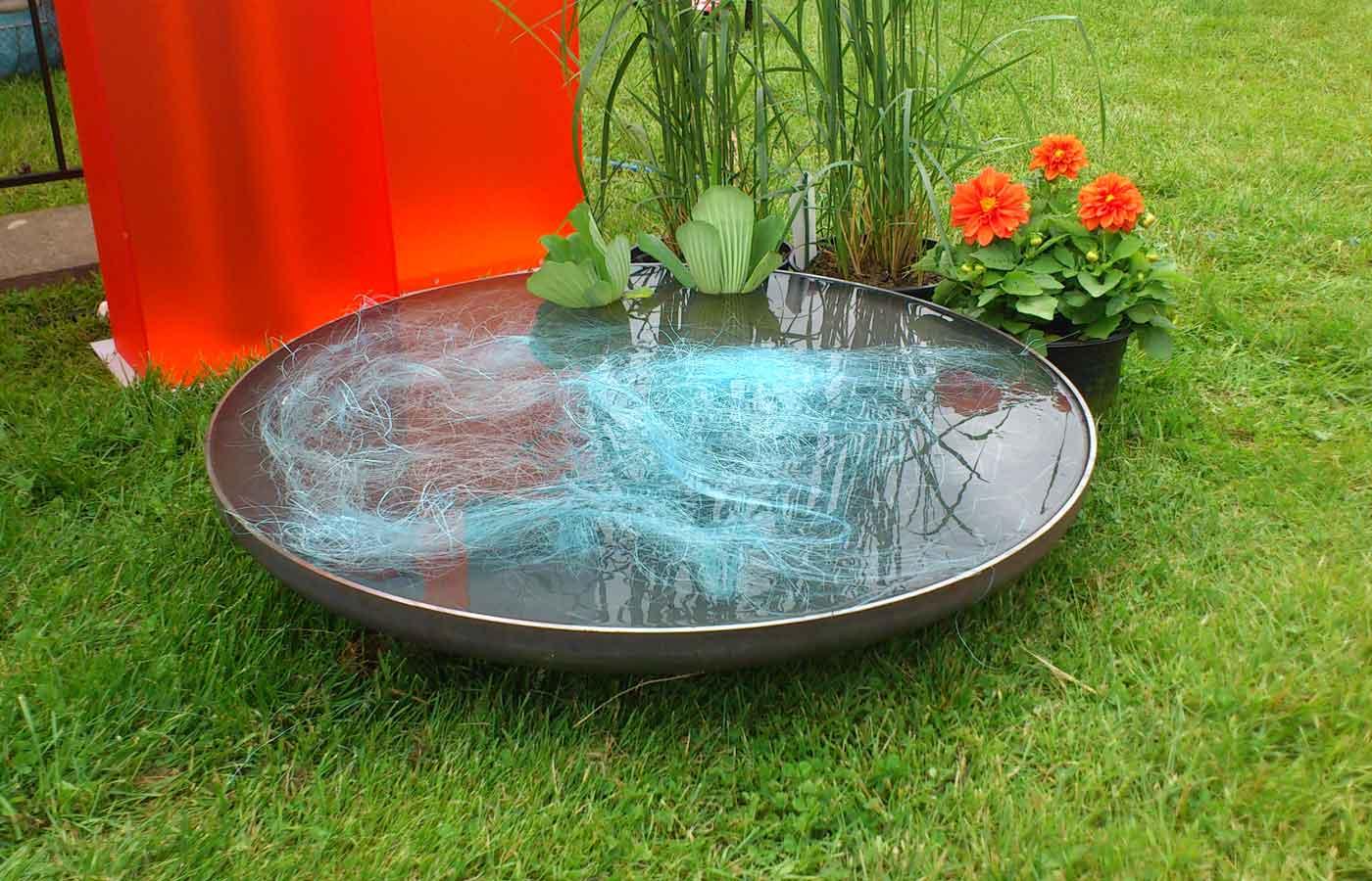 Schale gefüllt mit Wasser und Dekoration