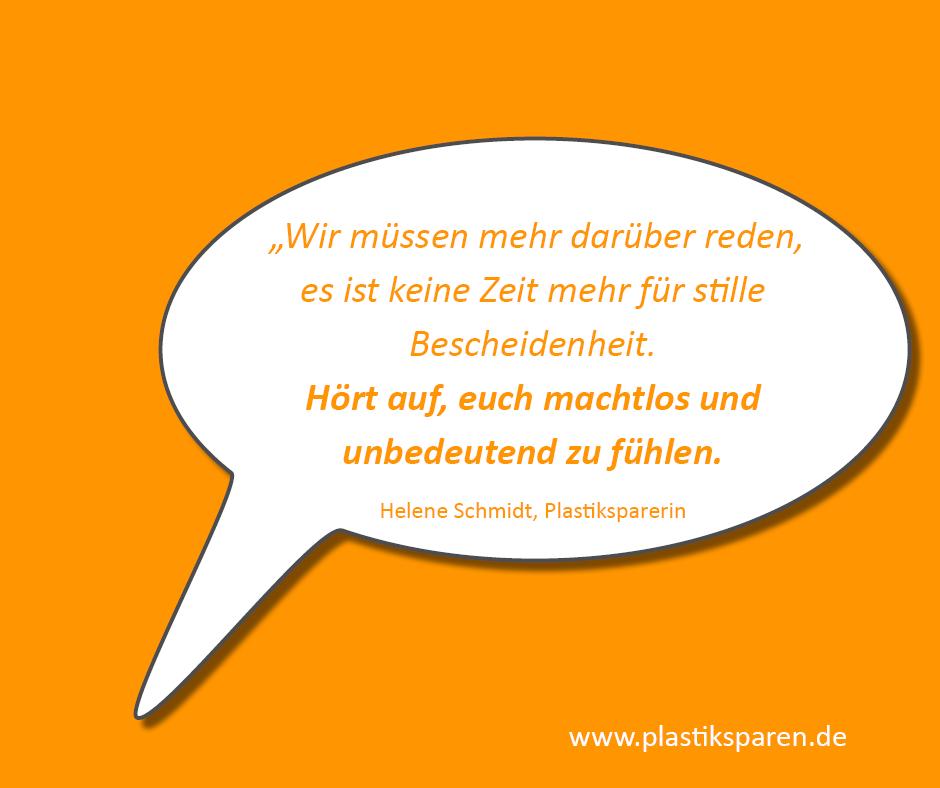 Menschen, die Plastik sparen - Helene Schmidt