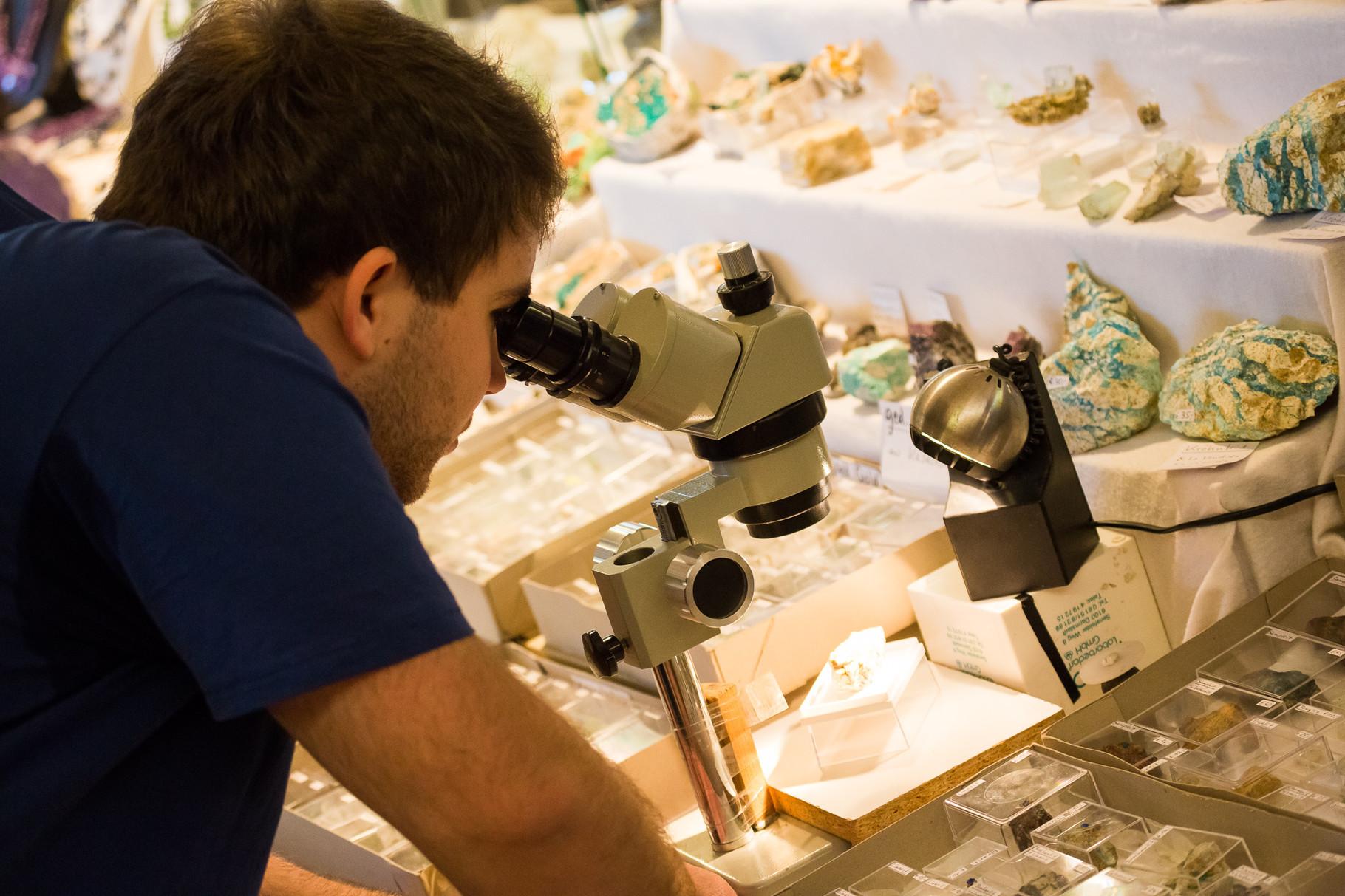 Der Veranstalter am Mikroskop
