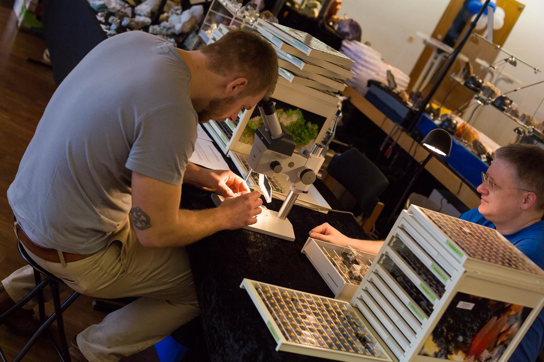 Mineralien können von jedem Besucher unter einem Mikroskop betrachtet werden