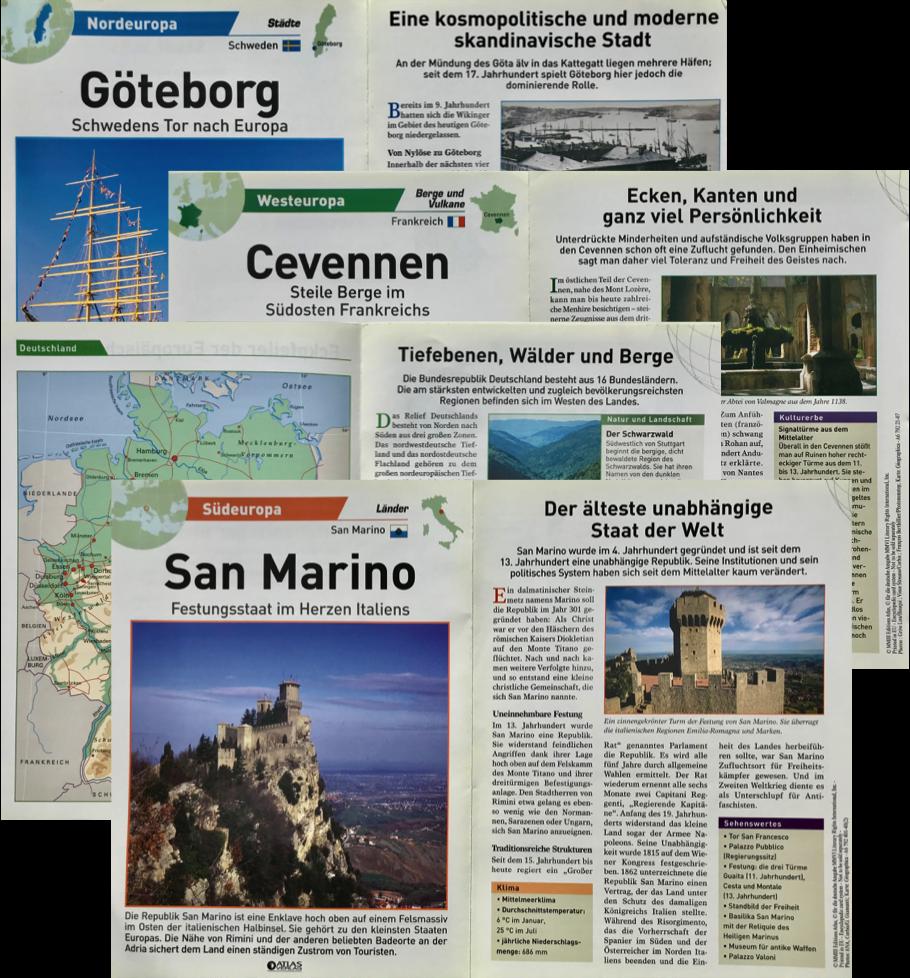 "345 Karten ""Atlas Europa"", Übersetzung aus dem Französischen, 2006–2007 (Éditions Atlas)"